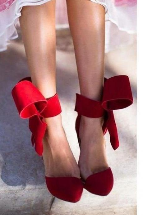 Removable Big Bow High Heel Heels Prom Dress Shoes