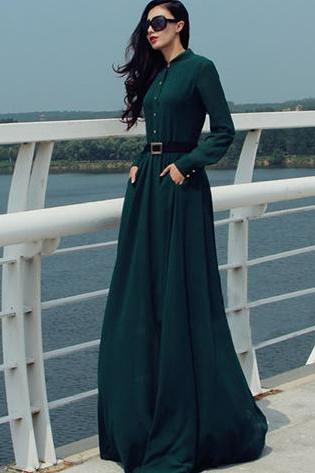 Long Sleeves Chiffon Button Decorate Pleat Long Maxi Dress