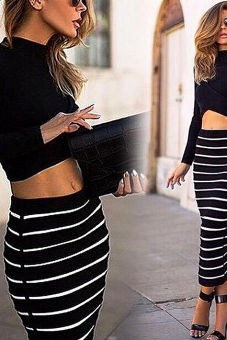 Women's Striped Bodycon Stretch Dress Long Sleeve Tops Blouse Long Skirt
