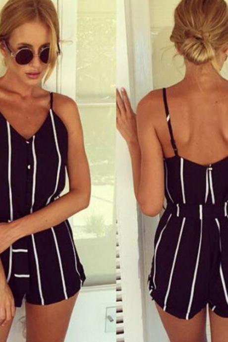 Stylish Lady Women Fashion Striped Summer V-neck Overall Jumpsuit