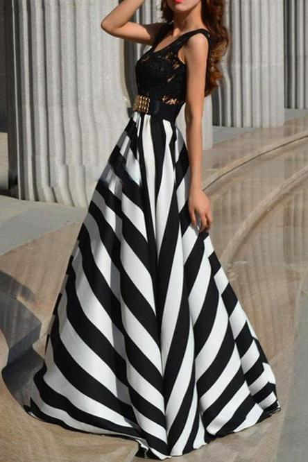 Lady Floral Lace Stripe Long Dress