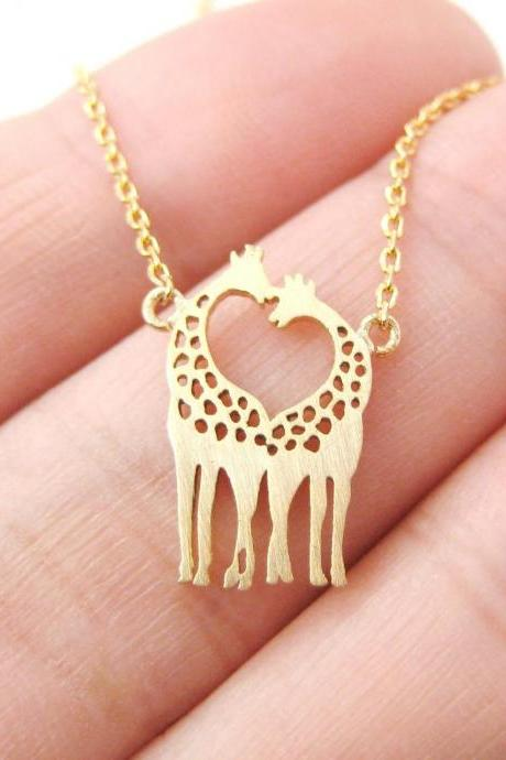 Giraffe Shaped Animal Themed Charm Necklace