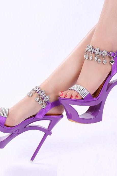 Shinning Rhinestone Cut Out High Platform Stiletto Heel Sandals