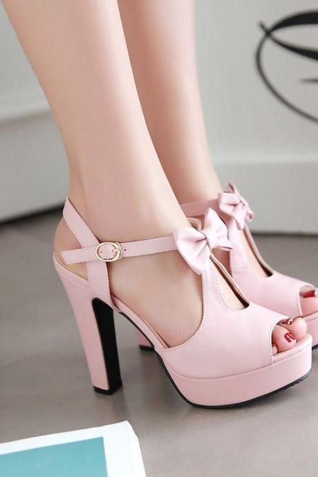 Street Style Peep Toe Bow High Heel Sandals