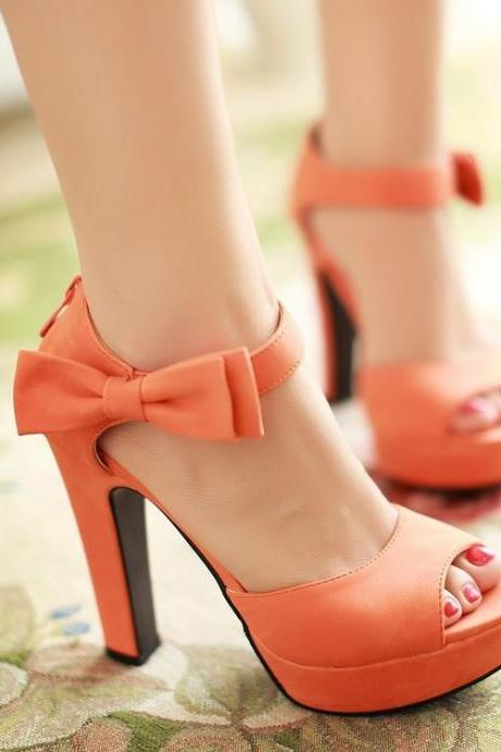 Peep Toe Thick High Heel Sandals with Ribbon