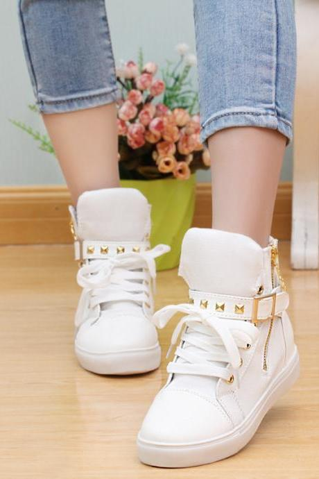 Fashion Skull Decorate Flat High Cut Women's Canvas Rivet Sneaker