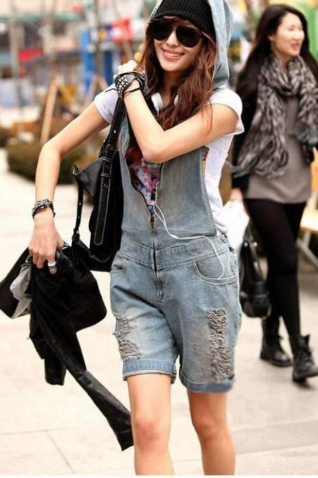Retro Hole Zipper V-neck Casual Cap Sleeveless Jumpsuits