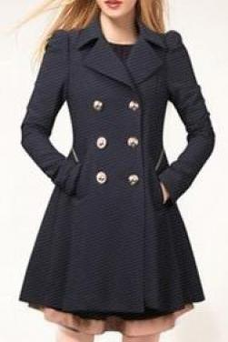 Double Button Turn-down collar Slim Plus Size Coat