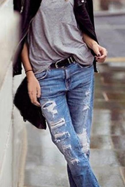 Beggar Style Holes Ripped Frayed Loose Long Jeans