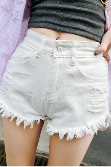 Rough Edges High Waist Straight Pure Color Ripped Denim Shorts
