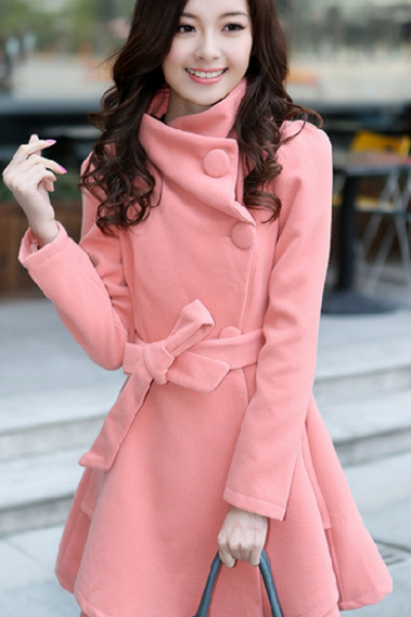 Stand Collar Belt Solid Cope Long Slim Coat