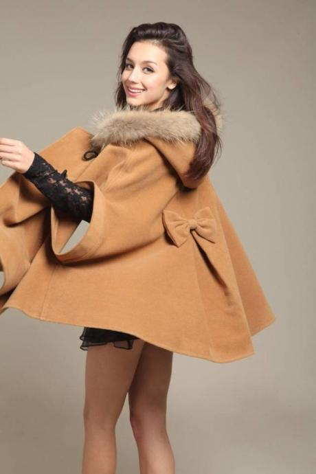 Faux Fur Hooded Sleeveless Cope Loose Short Coat