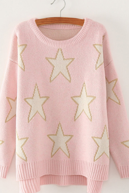 Print Cute Loose Scoop Knit Pullover Sweater