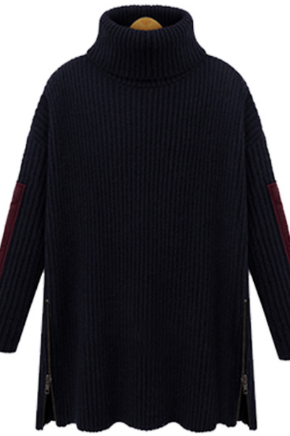 Knitted Turtleneck Long Sleeves Oversized Sweater Featuring Slits with Zipper Detailing