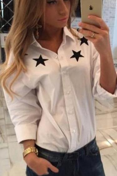Turn-down Collar Star Flower Print Slim Long Sleeves Blouses