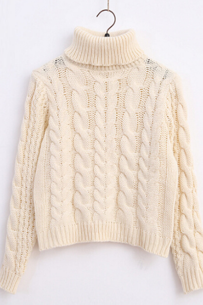 Cable Knit Turtleneck Long Cuffed Sleeves Sweater