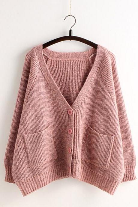 Pink Long Sleeve Knitted V Neck Button Down Cardigan Sweater with Big Pockets