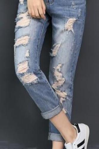 Rolled Ripped Hole Beggar Loose Bf Jeans