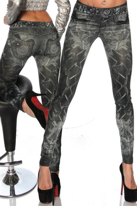 High Waist Fower Print 9/10 Fashion Slim Skinny Leggings