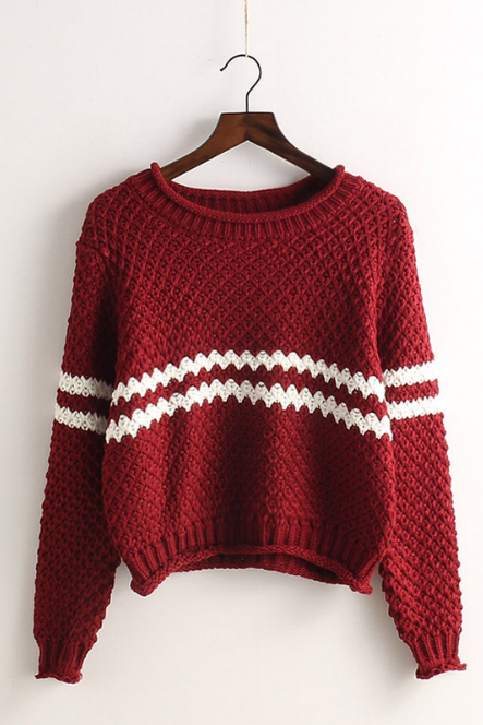 Striped Pullover Knit Fashion Scoop Sweater