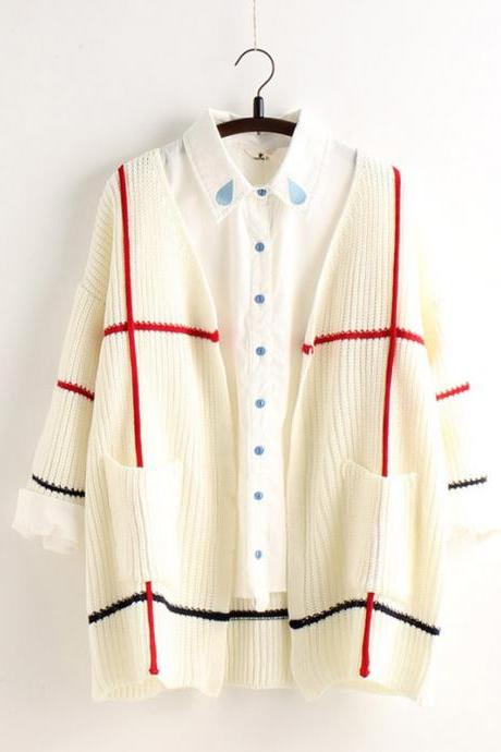 Plaid Knit Cardigan V-neck Fashion Sweater