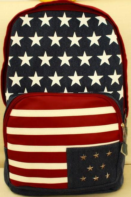 Rivet Stars And Stripes Print Backpack School Travel Bag