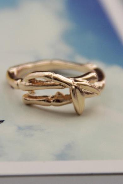 Do the old antique fashion texture bamboo single ring female ring