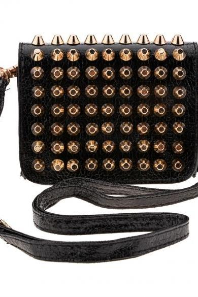 Synthetic Leather Rivets Embellished Shoulder Bag