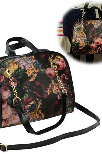 New Retro Women's Girl Printing Briefcase Handbag Cross Shoulder Bag