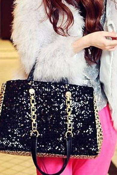 New Women Fashion Sequin Handbag Satchel Bag Shoulder Bag