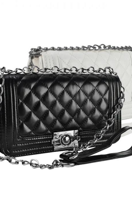 Synthetic Leather Chain Crossbody with Quilted Texture