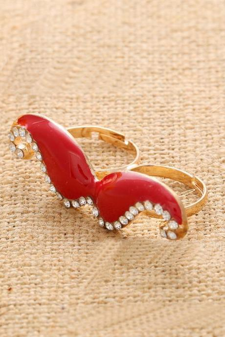 Double ring opening ring beard adjustable ring(Red)