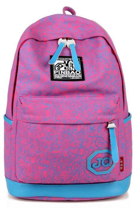 Geometric Pattern Contrast Color Casual Travel Backpack