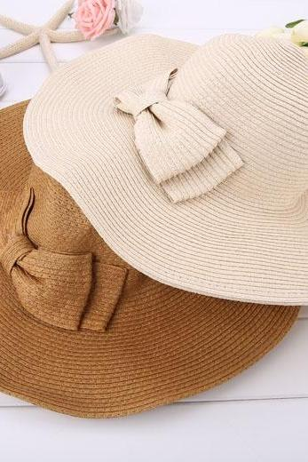 Wide Brim Straw Hat , Beach Hat with Ribbon