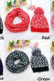 Stylish New Women's Leopard Grain Pattern Knit Winter Warm Ski Skating Cap Hat + Scarf Set