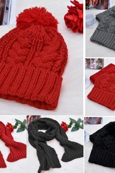 Fashion Women's Girls' Beanie Winter Warm Cap Woolen Blend Knitted Hats W/ Scarf