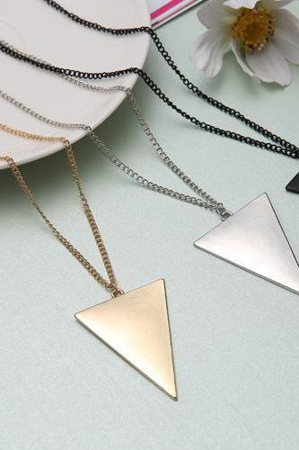 European Fashion Geometric Triangle Long Sweater Necklace