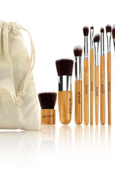 Acevivi New Fashion Professional 10pcs Soft Cosmetic Tool Makeup Brush Set Kit With Pouch