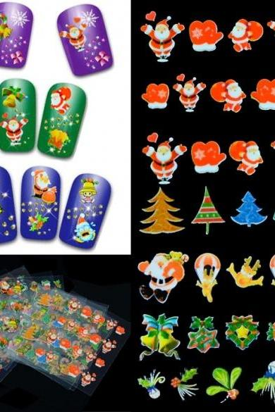 12 Sheets Christmas Presents Santa Trees Design Nail Art DIY Stickers