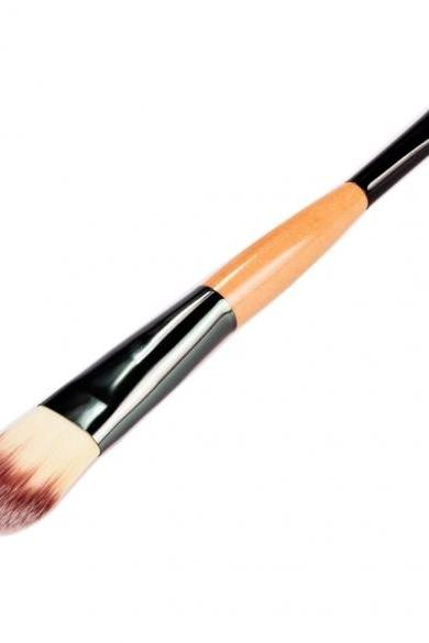 Wooden Makeup Brushes Essential Cosmetic Tools Dual Ended Face Flat Contour Foundation Brush Lip Brush