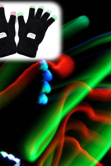 LED Rave Flashing Gloves Glow 7 Mode Light Up Finger Lighting Black