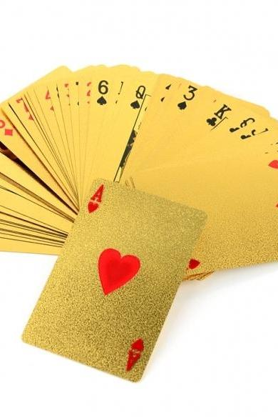 Gold Foil Plated Poker EUR Card Deck with Box