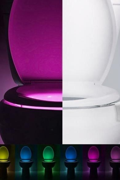 New LED Toilet Bathroom Night Light Human Motion Activated Seat Sensor Lamp