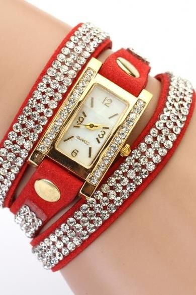 Women's Vintage Square Dial Rhinestone Weave Wrap Multilayer Leather Bracelet Wrist Watch Watches
