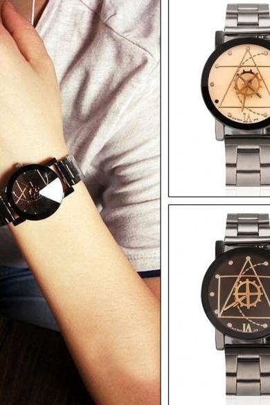 New Men/Women Lovers Quartz Analog Compass Stainless Steel Wrist Watch