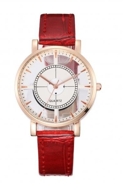 Fashion Transparent Women Embossed Leather Band Anchor Quartz Wrist Watch