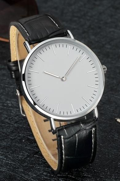 Fashion Men Round Dial Synthetic Leather Band Watch Wristwatch Analog Quartz for Business