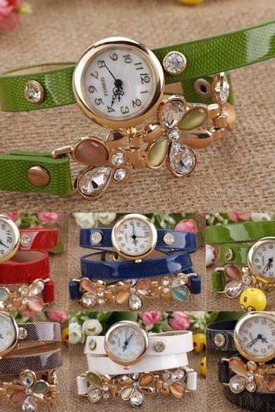 New Fashion Women's Flower Sling Chain Watch Wrap Circle Button Wristwatch