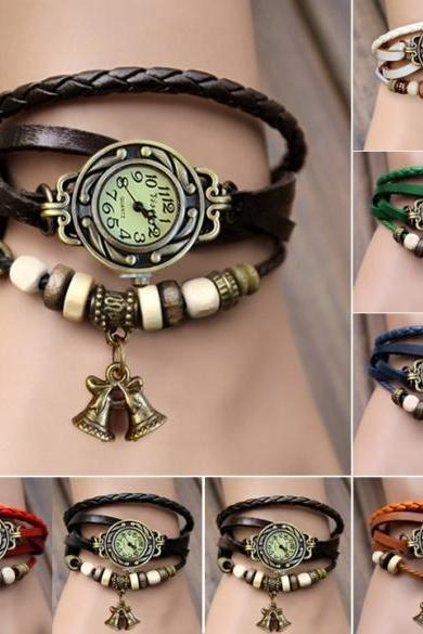 Women's Quartz Bell Pendant Weave Wrap Synthetic Leather Bracelet Wrist Watch