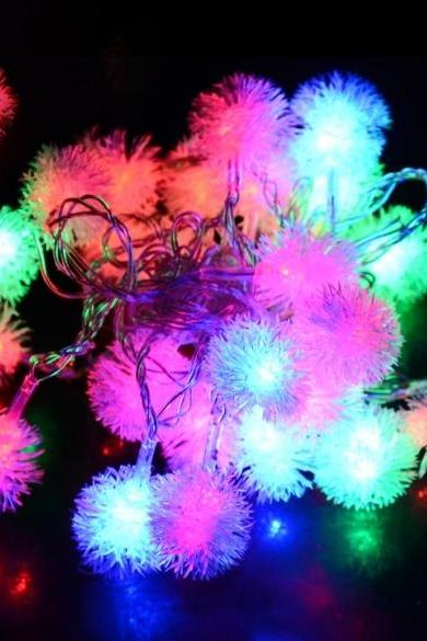 5M 28 LED Fuzzy Ball String Fairy Light festival Party Wedding Decoration